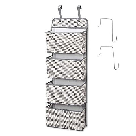 4 Pocket Closet Storage Organizer Wandhalterung Over Door Fabric Hanging Organizer Grau (Kleidung Closet Organisation)