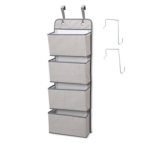 HUANXIN 4 Pocket Closet Storage Organizer Wandhalterung Over Door Fabric Hanging Organizer Grau (4-pocket-tür-organizer)