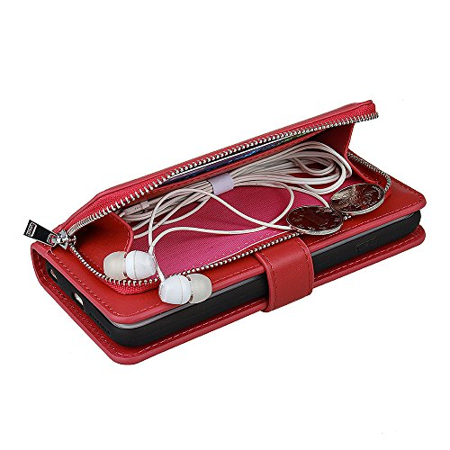 xhorizon TM organizer Prämie-PU Leder vn Geldbeutel des Griffs mit magnetischem und entfernbarem Geldbeutelskoffer, Steckplätze der Karte, und Reißverschluss Drehenskoffer von Pouch Folio, Decke für i Rote