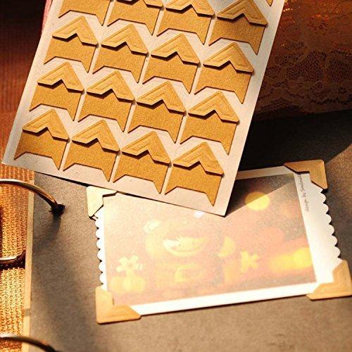 120pcs Self Adhesive Paper Photo Corner Stickers for Scrapbooking, Photo Book, Personal Journal & Diary Adhesives (Kraft)