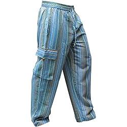 SHOPOHOLIC FASHION - Pantalones hippies de pierna ancha unisex, bolsillos laterales, diseño rayas multicolor multicolor Turquise mix L