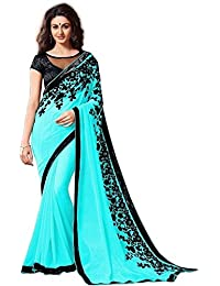 Muskaan Sarees Women's Georgette Embroidered Saree With Blouse Piece - Latest Saree Collection 48_Turqoise_Free...