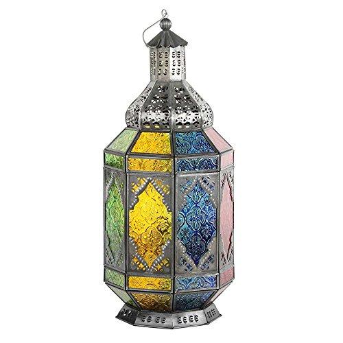 albena shop 71-4953 Trasu linterna oriental estilo marroquí 45 cm metal / cristal colorido