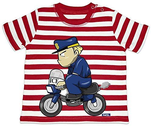 HARIZ Baby T-Shirt Streifen Polizist Lustig Motorrad Polizei Cops Inkl. Geschenk Karte Feuerwehr Rot/Washed Weiß 18-24 Monate