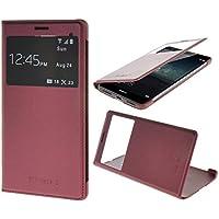 Huawei Mate S Funda,COOLKE Ultra Delgado Diseño de ventana Flip Funda Con Soporte Plegable Carcasa Funda Tapa Case Cover para Huawei Mate S - Rojo