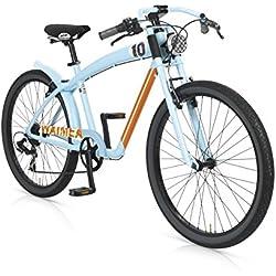 """MBM Waimea - Bicicleta de paseo para hombre de 7 velocidades, cuadro de aluminio 606 talla 45, frenos V-Brake, ruedas de 26"""", color azul"""