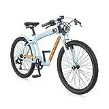 MBM  Waimea - Bicicleta de paseo para hombre de 7 velocidades, cuadro de aluminio 606 talla 45, frenos V-Brake, ruedas de 26, color azul