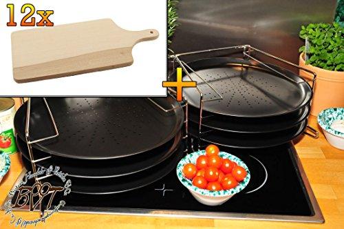 6 Stk. rundes Pizzablech mit gelochtem Boden + 2x 4 stufiger Edelstahl-Pizzablechhalter, TRADITIONELL, ca. 33 cm x 1 mm & 12 mal Massiv-Grill-Holzbrett ca. 15 mm stark, Schneidebrett mit Holzgriff, mit abgerundeten Kanten, Maße viereckig ca. 35 cm x 16 cm als Bruschetta-Servierbrett, Brotzeitbrett, Bayerisches Brotzeitbrettl, NEU Massive Schneidebretter, Frühstücksbretter,
