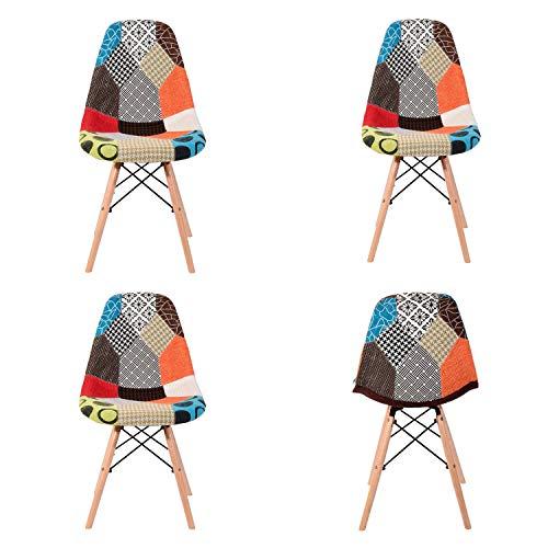 MeillAcc 4 Leinen-Loungesessel mit Stühlen im nordischen Stil und Patchwork-Sesseln im nordischen Stil für Büro, Wohnzimmer und Küche (rot)