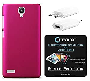 Chevron Rubberized Back Cover Case for Redmi Note Prime with HD Screen Guard & USB Mobile Wall Charger (Pink)