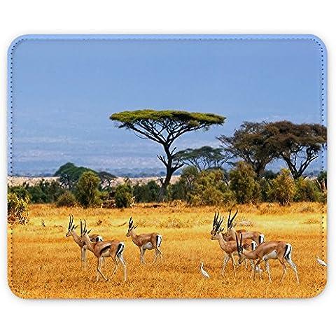 Paesaggi 10051, Safari Kenya, Pelle Mouse Pad Tappetino per Mouse Mouse Mat con Immagine Colorato Antiscivolo in Gomma di Base compatibile con Apple Magic Mouse. Ideale per Giocare 250 x 190mm.