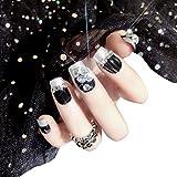 AiSi 24pcs Künstliche Fingernägel zum Aufkleben, Künstliche Nägel, Nail Tips, Selbstklebende Nägel Nagelaufkleber Nägel Aufkleber Nägel Tips mit Nagelkleber (Schwarz)