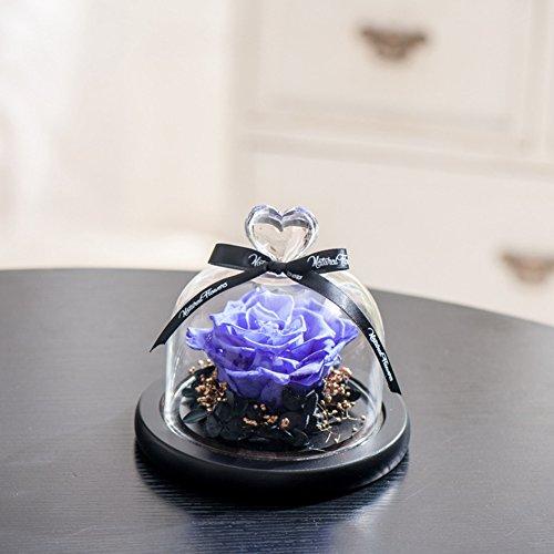 Ornements de verre fleur immortelle,Rose naturel Envoyer à votre petite amie Anniversaire de mariage Anniversaire Le jour de noël Décorations de réception-H 11x10cm(4x4inch)