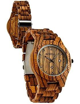 Bewell Männer Aultrathin Zebra Holz-Armbanduhren Hohe Qualität Quarz Analog-Uhren