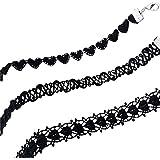 3 Piezas Terciopelo Negro Tatuaje Gargantilla de la borla Collares