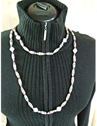 Handmade by Mimi Pinto Paper Bead Double strand Necklace with clasp/easy hook