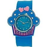 Kids - Girls analoge Cupcake Uhr blaues Zifferblatt und blaues Federarmband