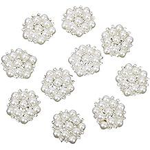 10pcs 20mm Brillantes Botones Adornados con Perlas y Cristales Artificiales de Color Plateado y Beige