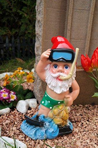 Gartenzwerg Taucher aus bruchfestem PVC Zwerg Made in Germany Figur Karotte Spaten