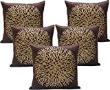 #8: Cusion Cover Blue Eye Golden Leaf Print Velvet Cushion Cover Set of 5 - (16x16 in :: Cofee)