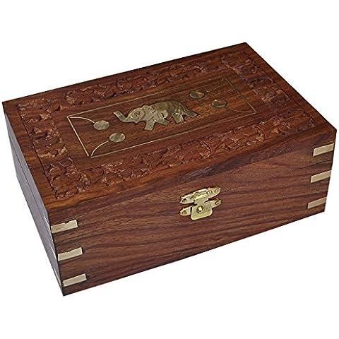 In legno Jewelry Organizer scatola gioielli in legno Cofanetto Portagioie/scatola, Custodia Regalo di natale per la sua 15,2x 9,7x 5,6cm