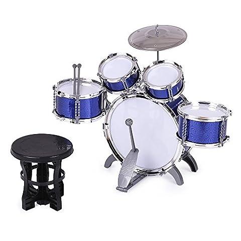 ammoon Enfants Set Batterie Jouets Musical Instrument 5 Drums avec Petits Cymbal Tabouret Pilons pour Garçons Filles Bleu