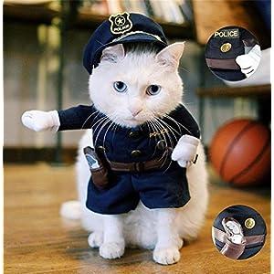 StillCool Haustier Kleidung Reizende Katzenkostüm Haustier-Polizist-Kostüm Hund Hundekost Jeans Kleidung Katze lustiges Kleid cosplay(S)
