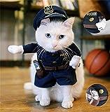 StillCool Haustier Kleidung Reizende Katzenkostüm Haustier-Polizist-Kostüm Hund Hundekost Jeans Kleidung Katze lustiges Kleid cosplay (L)