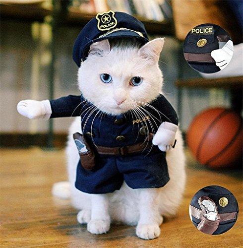 StillCool Haustier Kleidung Reizende Katzenkostüm Haustier-Polizist-Kostüm Hund Hundekost Jeans Kleidung Katze lustiges Kleid cosplay (M)