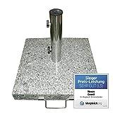 Nexos ZGZ35814 Schirmständer Sonnenschirmständer Granit eckig 40x40cm Steindicke 5cm ca. 25kg Edelstahlrohr Griff Rollen grau