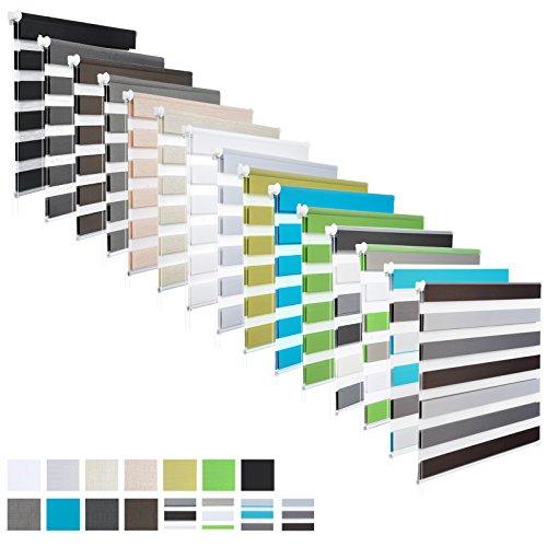 EUGAD #324 Doppelrollo Duo Rollo Klemmfix Ohne Bohren, Variorollo Fensterrollo, lichtdurchlässig und verdunkelnd, Weiß, 55cmx150cm