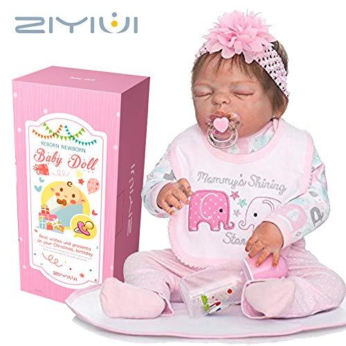 ZIYIUI Reborn Baby Doll Réincarné bébé Poupée Simulation Silicone Vinyle 23 Pouces 57cm Bouche Magnétique Qui Semble Vivant Imperméable Garçon Fille Jouet Boy Girl Cadeau de noël