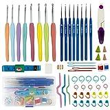 Kits de Ganchillo, 52 Paquetes de Herramientas de Tejer Accesorios con Caja de Compartimiento Aguja de Ganchos de Ganchillo Ergonómica de Aluminio Grande