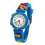 Montre Enfant Garçon Pédagogique Quartz avec Bracelet Caoutchouc 3D Motif Cadran Blanc 3-8 ans - Bleu Poisson