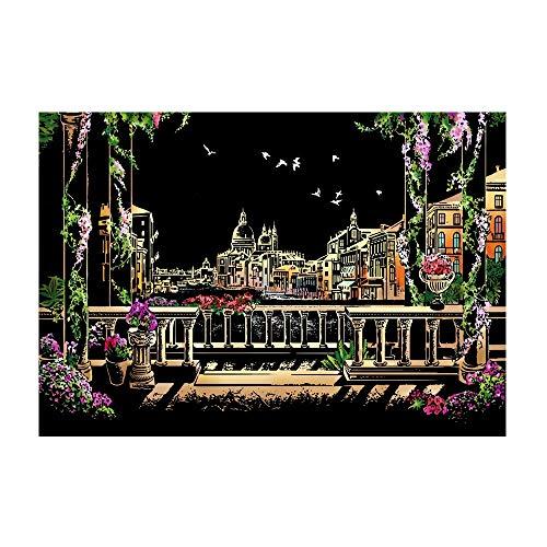 ZHAOLV Scratch-Malerei Nightscape-Kratzer-Malerei-Kratzer-Malerei-Schwarzes beschichtete Kunst-Stadt-Nachtszene zeichnen das Papiergeschenk-Kinderlernen (Color : Venice Water City)