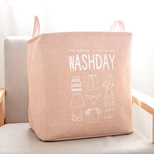 Mamum Verdicken wasserdichten Speicherkorb, Korb Aufbewahrungsbox juten natürliche sundries Lagerung wasserdichte Beschichtung pe 35 * 25.5 * 35 cm (ca.) pink (Natürliche Lagerung-korb)