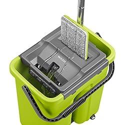 CleanUP Système de nettoyage complet pour laver et sécher avec seau et balai à tête plate Un balai révolutionnaire pour tout type de sol qui va vous économiser du temps de travail.