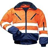 Warnschutz-Piloten-Jacke Arbeits-Jacke - EN 471 Klasse 3 - 4 in 1 Funktion - orange/marine - Größe: M
