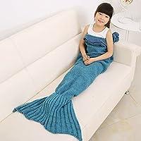 LIVEHITOP Sirena Coda Coperta, Calda Soft Knitting Mermaid Coperta Blanket Divano Letto Sacco a Peloper per Bambina Teens Ragazze Kids Girls, 140x70cm / 55.1
