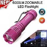 Linterna, Topten 6000lúmenes super brillante 3modos linterna foco ajustable Mini LED Linternas Camping internos, color rosa claro