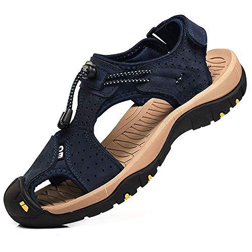 rismart Herren Closed Zu Draussen Sport Trekking Schuhe Leder Sandalen SN1505(Marine,44.5 EU) (Fersen Flip-flops)