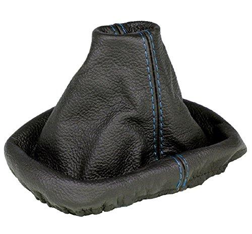 L&P A084 Soufflet Sac Manchette manchon de commutation 100% cuir véritable veritable noir noire couture fil bleu bleue transmission manuelle boîte boite vitesse vitesses changement vitesse