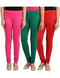 FlyColors Women's Cotton Churidar Leggings(Pack Of 3) - B072C3B6X4