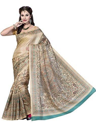 Rani Saahiba Madhubani Printed Art Silk Saree (Turquoise_SKR1058)