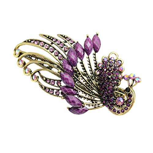 Provide The BestWomen Girls Retro Crystal Peacock Hair Clips Bohemia Beauty Tools Duckbill Hair Pin Claw Clamp (Purple Peacock Pin)