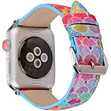X-Cool Correa Apple Watch 38mm 42mm, Ola Azul del Ciruelo Suave Cuero Reemplazo