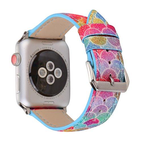 X-cool für Apple Watch 38mm 40mm Armband, Schwarze Pflaumenblüte Leder Armband für Damen Frauen, für iwatch Series 4 3 2 1 (Leder-bereitstellung Uhrenarmbänder)