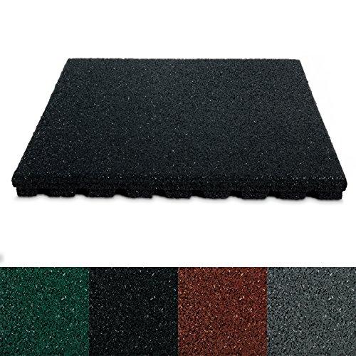 etm® Fallschutzmatte für Außenbereich | Unterseite mit Drainage | Größe 50x50 cm | TÜV geprüft | Fallschutz mit Stärke 25 oder 43 mm | Schwarz (25 mm) Drainage Schlauch