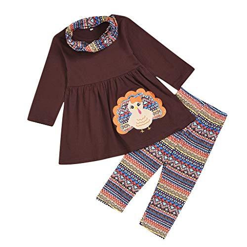 Kostüm Aztec Prinzessin - Heetey Mädchen Tops Outfits & Mantel Kleinkind Kinder Baby Mädchen Thanksgiving Türkei Tops Kleid + Aztec Pants Kleidung Set Prinzessin Kleid Blumenmädchenkleid Taufkleid Festlich Kleid