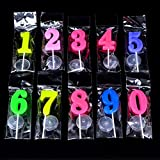 Simuer - Velas de cumpleaños con número de 0 a 9 moldeadas para Fiesta, día Especial, 20 Unidades